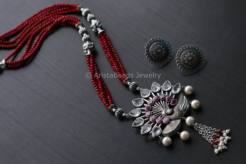 Tribal Maroon Beaded Peacock Necklace