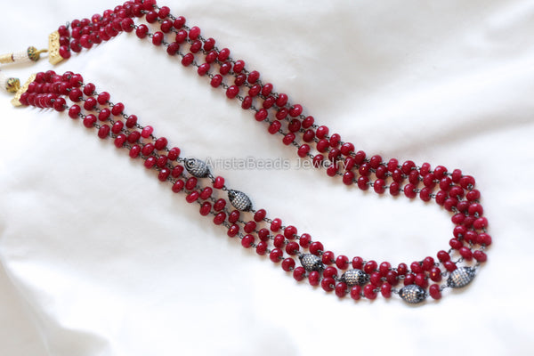 Contemporary Maroon Jade Layered Mala