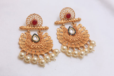 Large Matt Chandbali Earrings