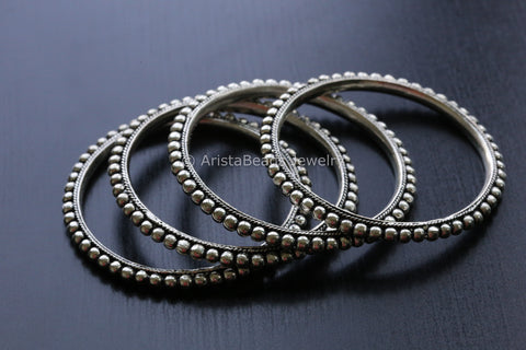 Oxidized Silver Metal Tribal Bangle