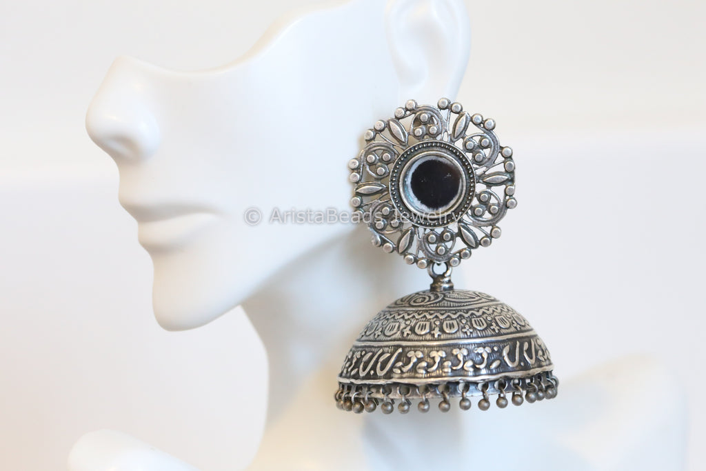 Extra Large Mirror Silver Plated Jhumka