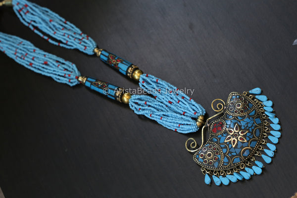 Sky Blue Beaded Pendant Necklace