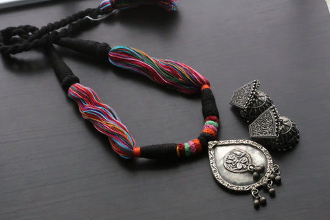 Vintage Tribal Necklace -  Black Multicolor Tassel