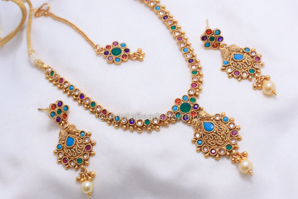 Antique Navratna Polki Necklace Set - AristaBeads Jewelry - 2