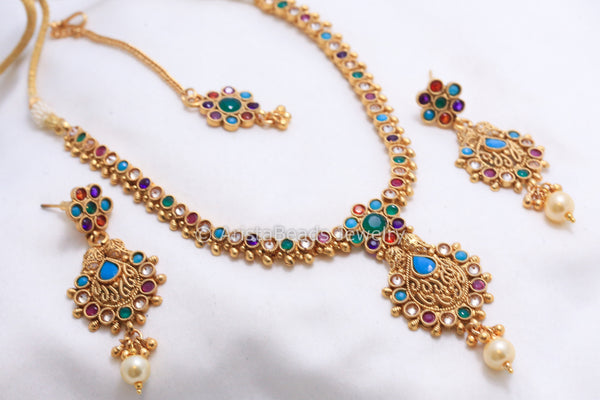 Antique Navratna Polki Necklace Set - AristaBeads Jewelry - 3