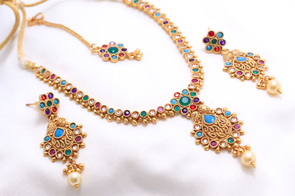 Antique Navratna Polki Necklace Set - AristaBeads Jewelry - 1