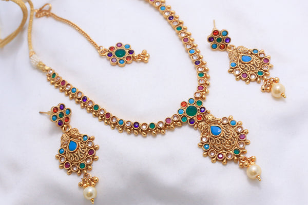 Antique Navratna Polki Necklace Set - AristaBeads Jewelry - 4