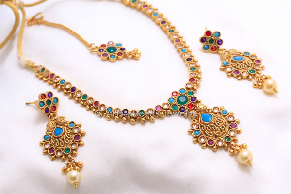 Antique Navratna Polki Necklace Set - AristaBeads Jewelry - 6