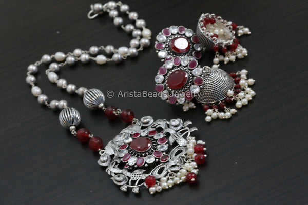 Oxidized Ruby Stone  Necklace Set