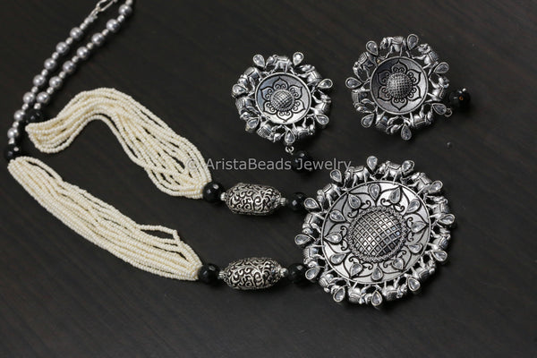 Tribal Mandala Necklace Set - Clear Stones