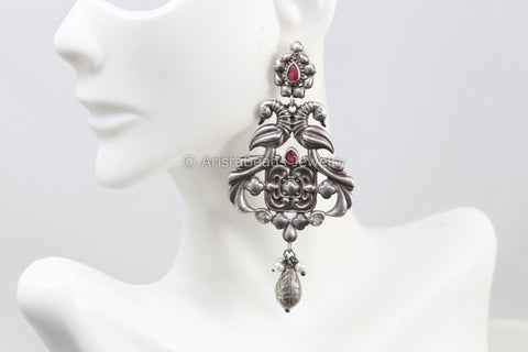 Silver Look Earring - Ruby White