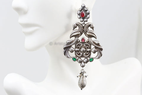 Silver Look Earring - Ruby Green