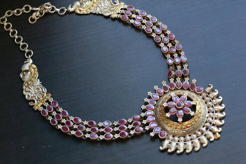Tribal Dual Tone Lotus Necklace - Ruby