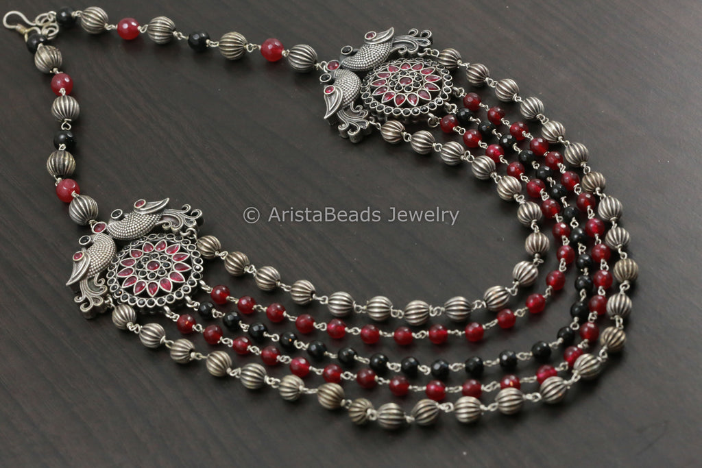 Layered  Kemp Necklace Jhumka Set -Black & Ruby CZ