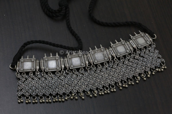 Silver Look Alike Oxidized Necklace - Style 1