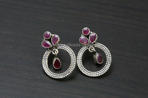 Delicate 925 Ruby Chandbaali