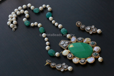 Contemporary Kundan Victorian Necklace Set