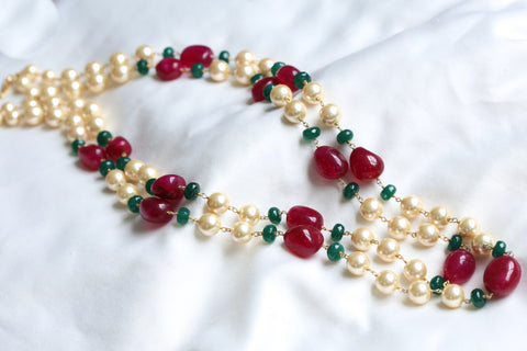2 Layer Pearl Mala Necklace