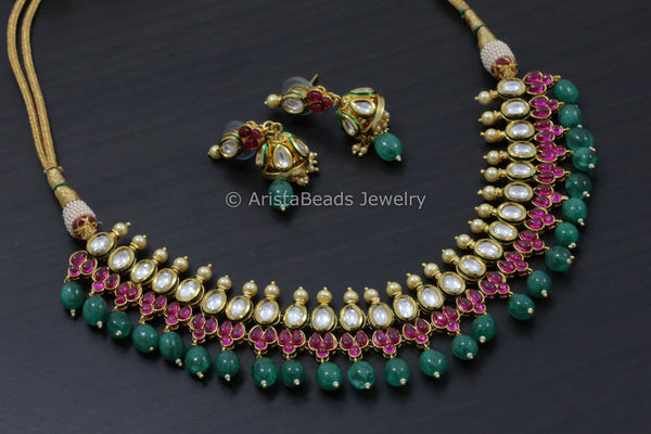 Kundan Necklace With Emerald Drops