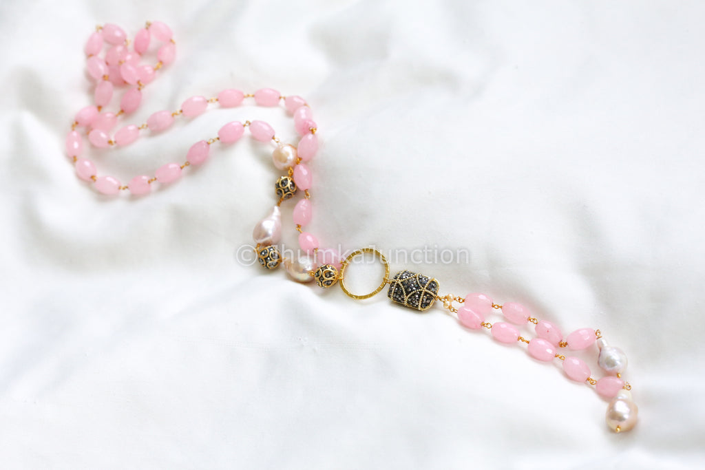 Long Mala With Baroque Pearls & Rose Quartz
