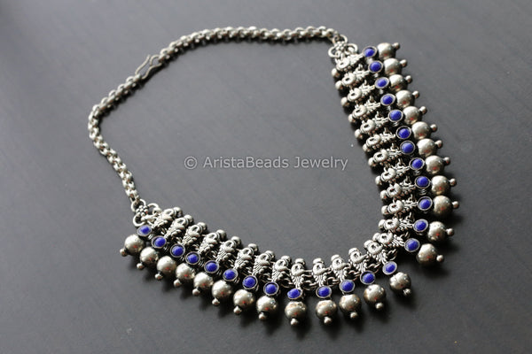 Oxidized Blue  Necklace