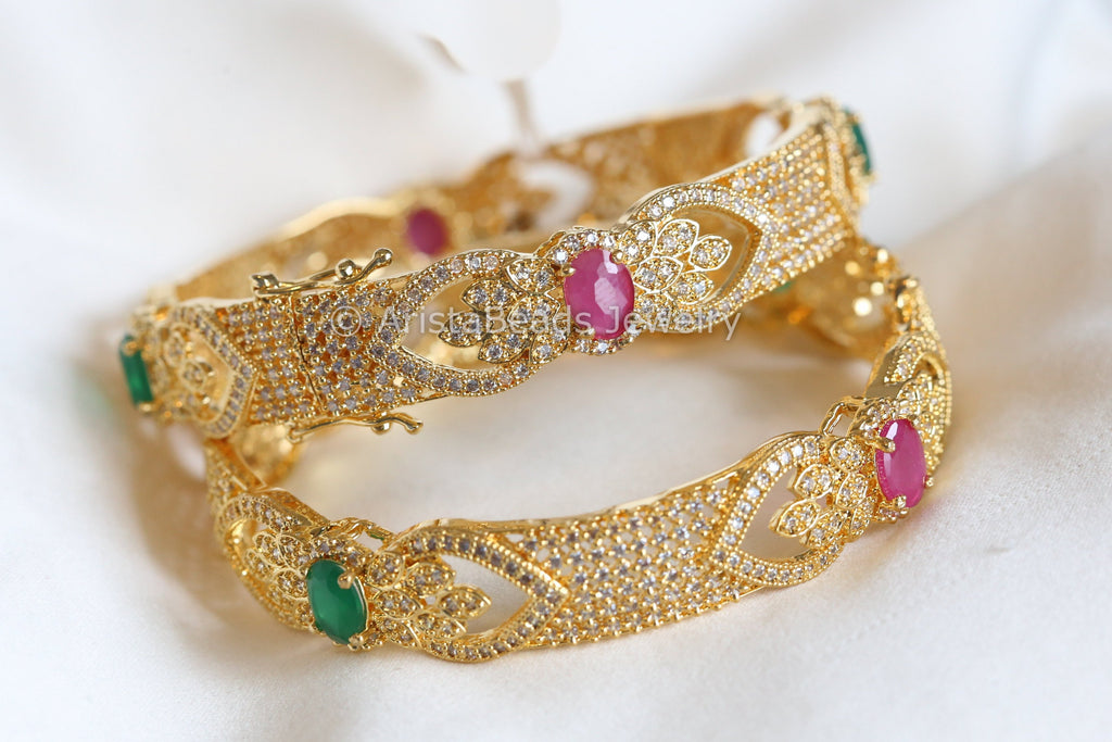 Emerald Ruby Filigree CZ Bangle (Set of 2)