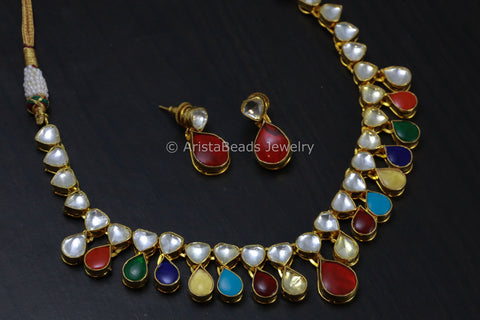 Handmade Navratna Kundan Necklace Set