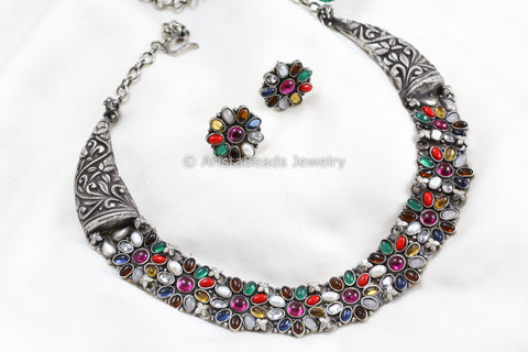 925 Sterling Silver Navaratna Necklace