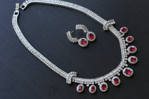 CZ Ruby Victorian Necklace
