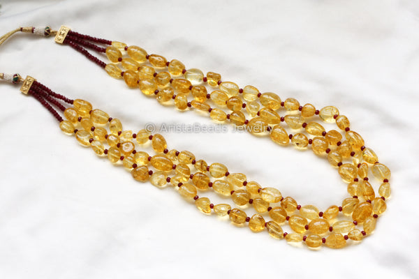 Unique Crackle Amber Color Layered Mala