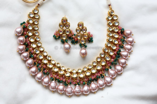 Kundan Necklace With Real Pearl Drops