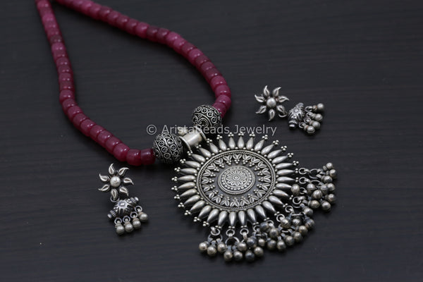 Ethnic 925 Silver Pendant Necklace - Ruby