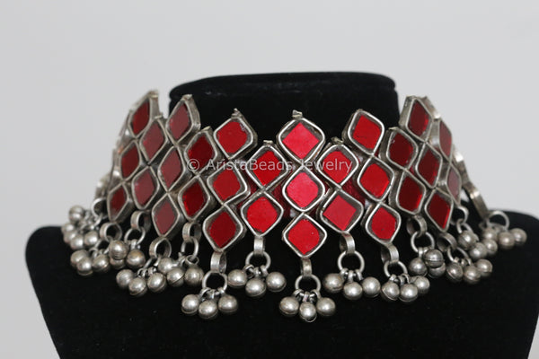 Red Glass Choker Necklace