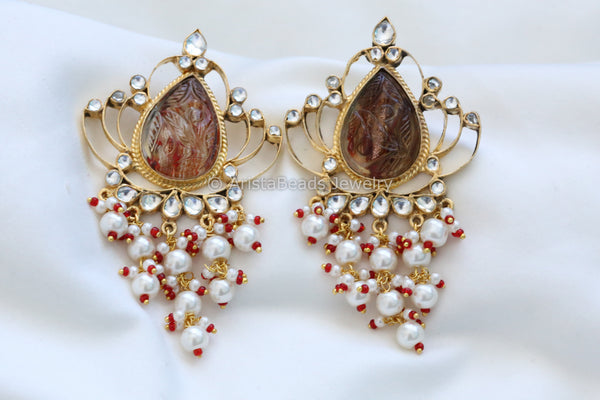 Contemporary Kundan Chandbaali - Maroon
