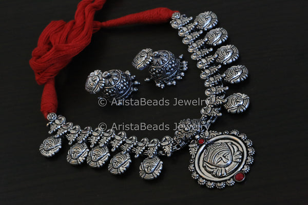 Durga Peacock Motif Temple Necklace - AristaBeads Jewelry - 1