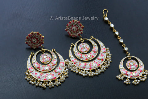 Large Enamel Kundan Chandbaali with Tikaa
