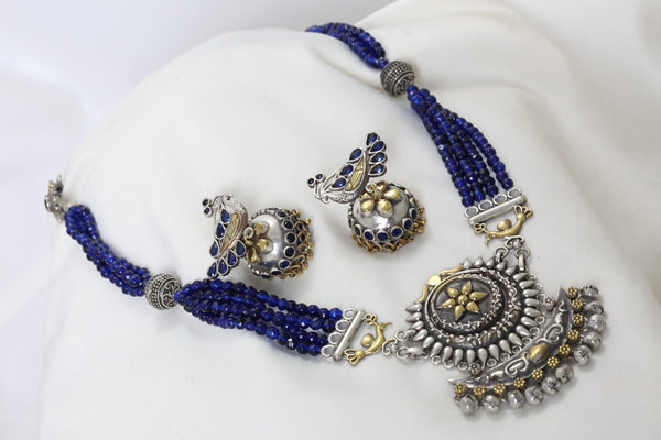 Dual Tone Blue Silver Look Necklace