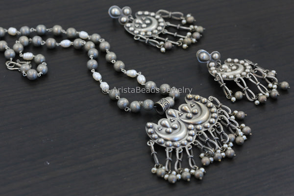Tassel Silver Look Necklace Set
