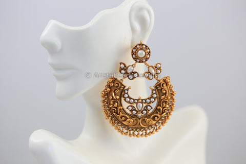 Antique Gold Chandbaali - Pearl