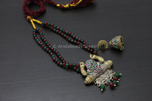 Dual Tone Ruby Emerald Necklace