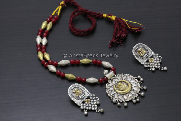 Dual Tone Ruby Ganesha Necklace
