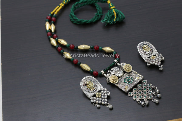 Dual Tone Ruby Emerald Dholki Necklace