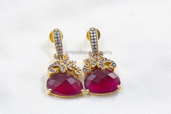 Ruby Contemporary CZ Earrings