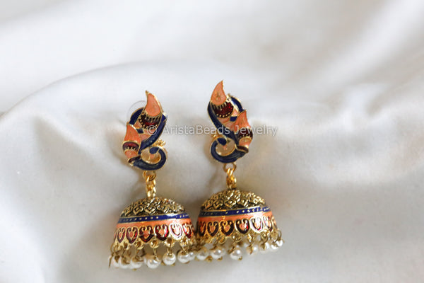 Orange Blue Enamel Jhumka