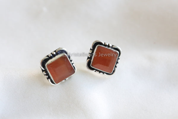 Orange Square Stud
