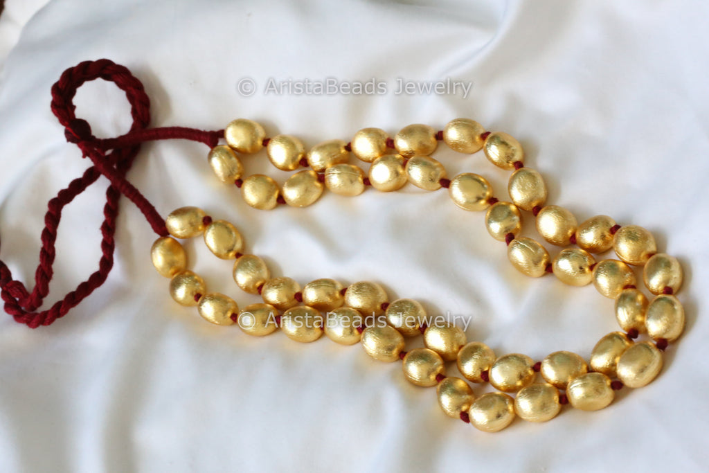 Gold Tone Oval Beads Necklace - 2 line