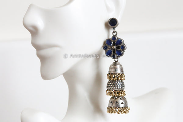 Long Layered 2 Tone Jhumka - Blue