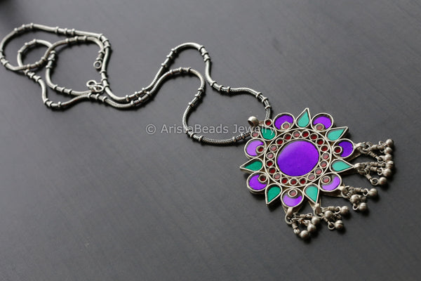 Purple  Glass Pendant Chain