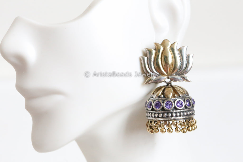 Purple Lotus CZ Jhumka