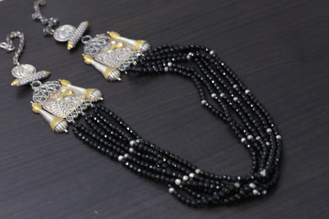 Black Beaded Dual Tone Necklace